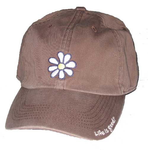 "Chocolate Baseball Cap: Life Is Good ""Daisy"" Baseball Hat"
