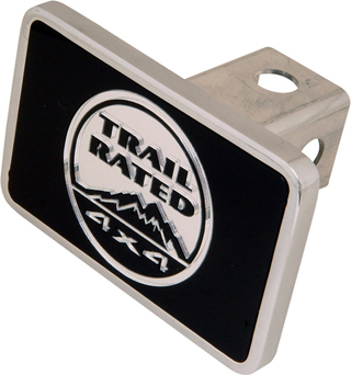 """Ca License Plate Availability >> All Things Jeep - Aluminum Trailer Hitch Cover with """"Trail Rated"""" Logo"""