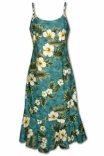 Kalakaua Green Spaghetti Flounce Dress
