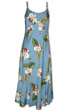 Olomana Orchid Blue Spaghetti Flounce Dress