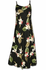 Olomana Orchid Black Spaghetti Flounce Dress