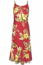 Hapuna Hibiscus Red Spaghetti Flounce Dress