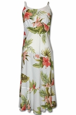 Hapuna Hibiscus White Spaghetti Flounce Dress