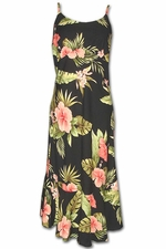 Hapuna Hibiscus Black Spaghetti Flounce Dress