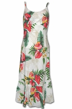 Aina Haina Anthurium White Spaghetti Flounce Dress