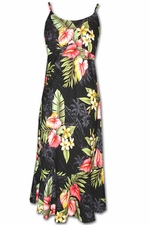 Aina Haina Anthurium Black Spaghetti Flounce Dress
