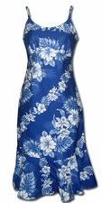 Royal Hibiscus Blue Spaghetti Flounce Dress