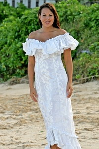 Wedding White Hibiscus Ruffle Muumuu
