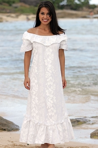 Wedding White Hibiscus Short Sleeve Muumuu