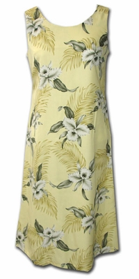 Kahala Beach Yellow  Luau Hawaiian Tank Dress