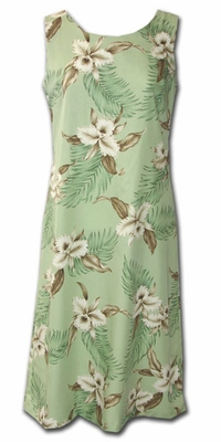 Kahala Beach Green Luau Hawaiian Tank Dress