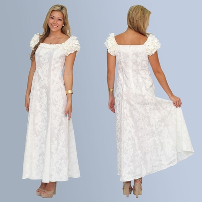 Wedding White Hibiscus Panel Ruffle Dress