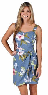 Hibiscus Summer Blue Wrap Hawaiian Dress