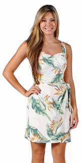 Bird of Paradise Cream Sarong Dress