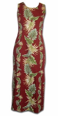 Island Enchantment Red Long Hawaiian Tank Dress