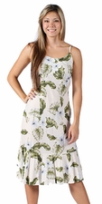 Hawaiian Hibiscus White Spaghetti Flounce Dress