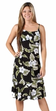 Hawaiian Hibiscus Black Spaghetti Flounce Dress