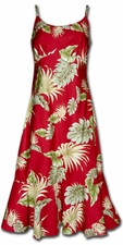 Island Enchantment Red Spaghetti Flounce Dress