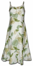Island Enchantment Cream Spaghetti Flounce Dress