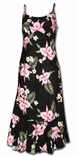 Pink Orchids Black Spaghetti Flounce Dress