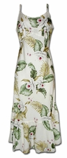 Island Orchids White Spaghetti Flounce Dress