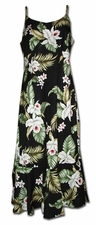 Island Orchids Black Spaghetti Flounce Dress