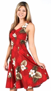 Kilauea Red Flounce Tank Dress