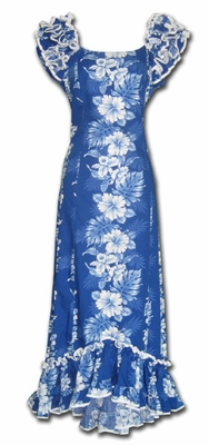 Royal Hibiscus Blue Ruffle Shoulder Muumuu