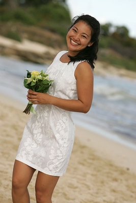 Wedding White Hibiscus Panel Tank Dress