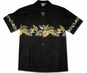 Kapalua Garden Black Hawaiian Shirt