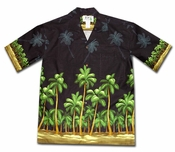 Deserted Island Black Hawaiian Shirt