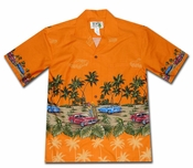 American Muscle Surf Orange Hawaiian Shirt