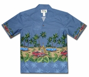 American Muscle Surf Blue Hawaiian Shirt