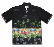 American Muscle Surf Black Hawaiian Shirt