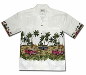 American Muscle Surf White Hawaiian Shirt