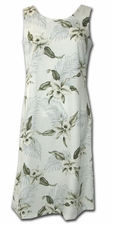 Kahala Beach White Luau Hawaiian Tank Dress