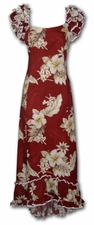 Floral Garden Red Ruffle Shoulder Muumuu