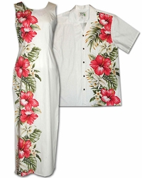Red Hibiscus Garden Dress and Shirt