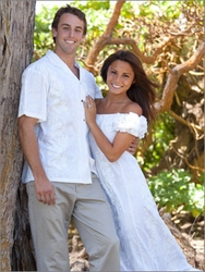 Wedding White Hibiscus Panel Wedding Dresses and Shirts