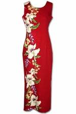 Giant Orchid Red Long Tank Hawaiian Dress