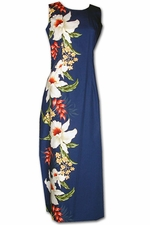 Giant Orchid Navy Long Tank Hawaiian Dress