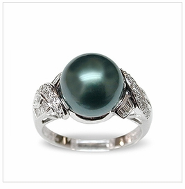 Penelope a Black Tahitian South Sea Pearl Ring