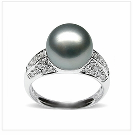Silver Eunice a Black Tahitian South Sea Cultured Pearl Ring