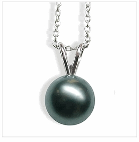 Single V Black Tahitian Cultured Pearl Pendant