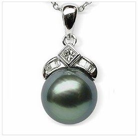 Inara a Black Tahitian South Sea Cultured Pearl Pendant