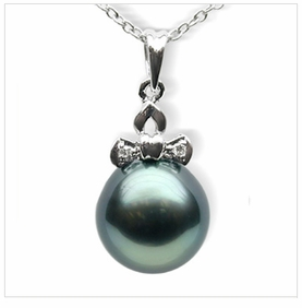 Lucy a Black Tahitian South Sea Pearl Pendant