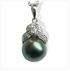 Leaf a Black Tahitian Cultured Pearl Pendant