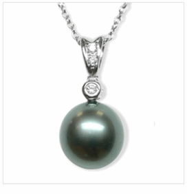 Single Pearl Black Tahitian Cultured Pearl Pendant