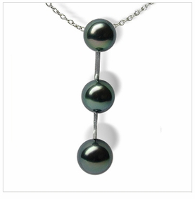 Three Black Tahitian Cultured Pearl Pendant