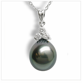 Oval Princess a Black Tahitian Cultured Pearl Pendant